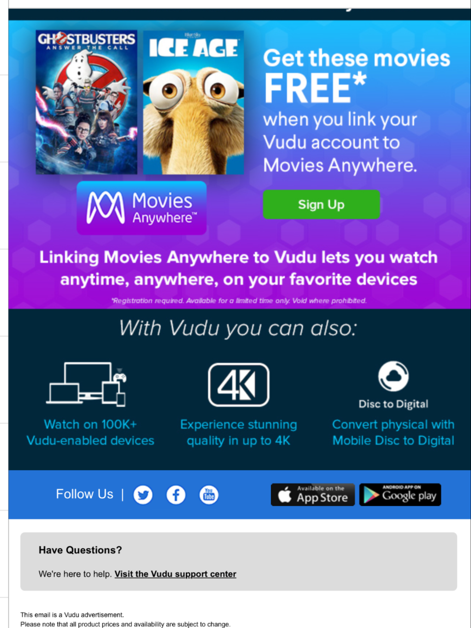 VUDU, 2 Free Movies by linking to Movies Anywhere, via Email