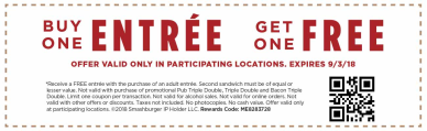 graphic about Smashburger Printable Coupons identify Smashburger Printable Coupon: Invest in Just one Entree, Get hold of A person Totally free