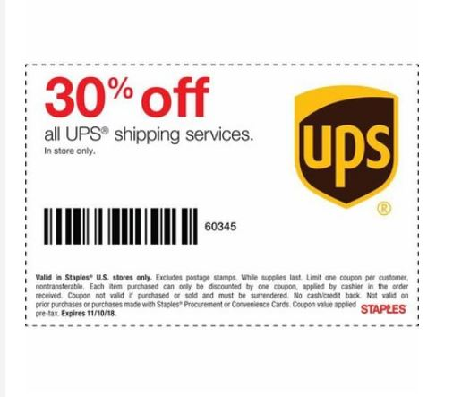 30 Off Ups Shipping At Staples Stores With Q To 11 10